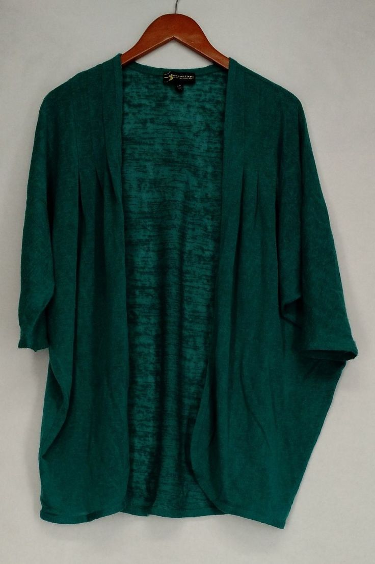 Serena Williams Sweater M Dolman Sleeve Open Front Cardigan Green New