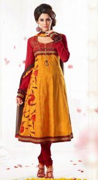 Majesty Orange & Red Salwar Kameez
