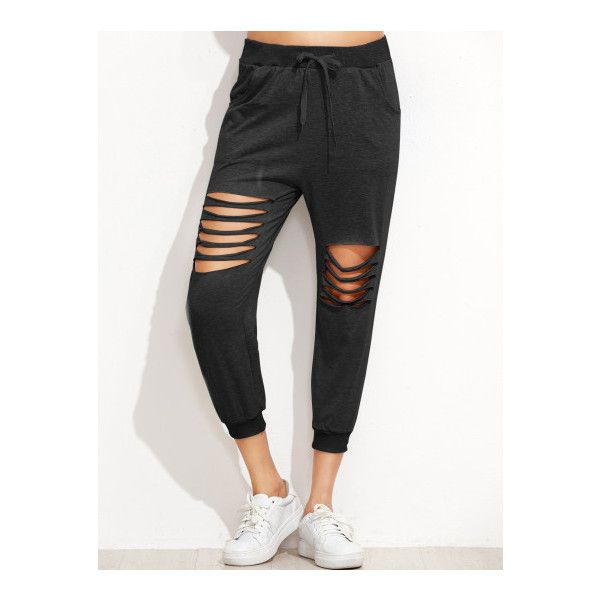 SheIn(sheinside) Black Ladder Cut Out Drawstring Pants ($16) ❤ liked on Polyvore featuring pants, capris, black, cropped pants, stretchy pants, cut out pants, tapered trousers and stretch crop pants