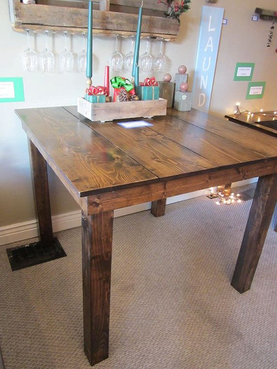 Counter height farm table solid pine construction for Farmhouse counter height table