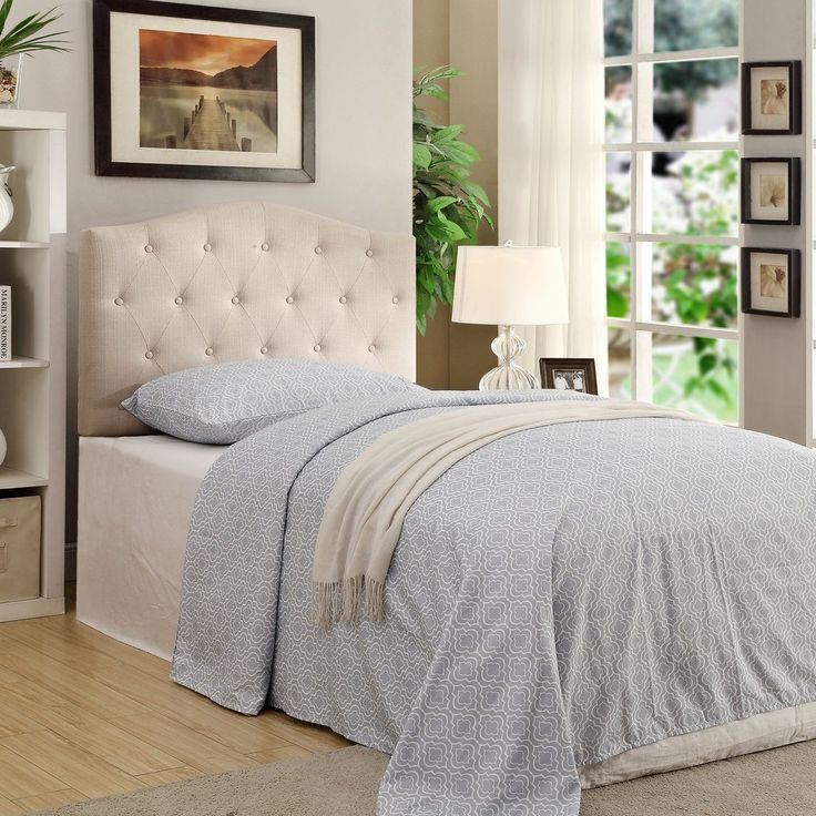 Twin Size Headboard Only - Natural Linen . . . #furniture #homedecor #interiordesign #design #decor #home #living #office #family #entertainment #luxury #affordable #sale #discount #freeshipping #canada #toronto #usa #america #fashion #design #bedroom #comfort #happy #style #rest #relax