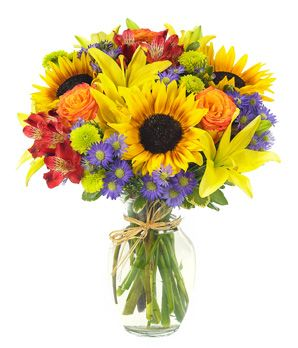 Bountiful Autumn Harvest bouquet: sunflowers, yellow lilies and red alstroemeria