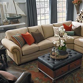 HGTV Home Custom Upholstery Large L Shaped Sectional By Bassett Furniture  Traditional Living Room