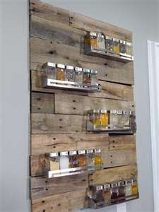 Saw this Awesome Spice Rack on HGTV's Kitchen Cousins. I Love it!! they painted the back black, then cut the pallets to fit their design, stainless steel spice racks. Love it!!