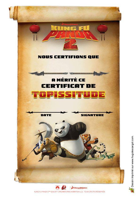 Un certificat Kung Fu Panda très cool, à découper et à offrir à quelqu'un de top.