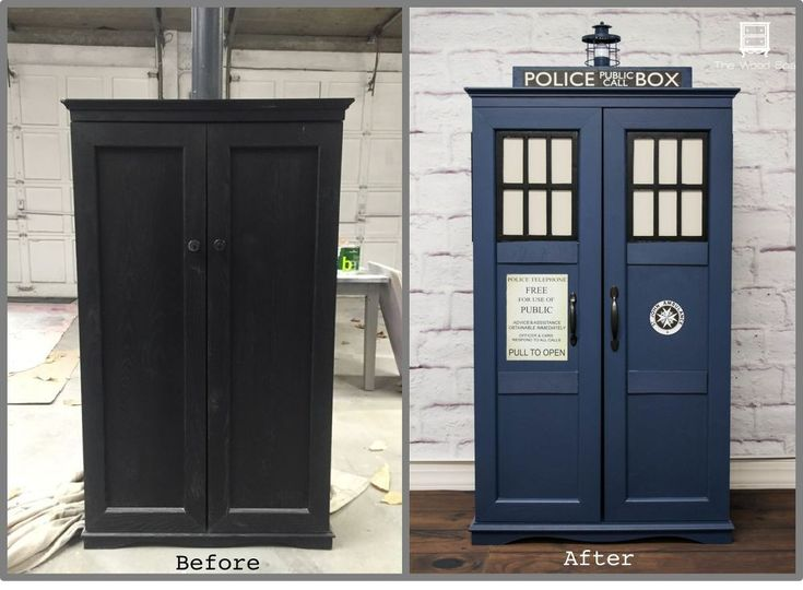 Any Dr. Who fans in your house? This is how I transformed an ugly DVD cabinet in a cute Tardis Bookcase, Media Storage and, of course, Time Machine![media_id:3…