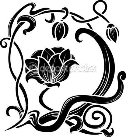 Blumen Schablone. Dekorationselement im Jugendstil