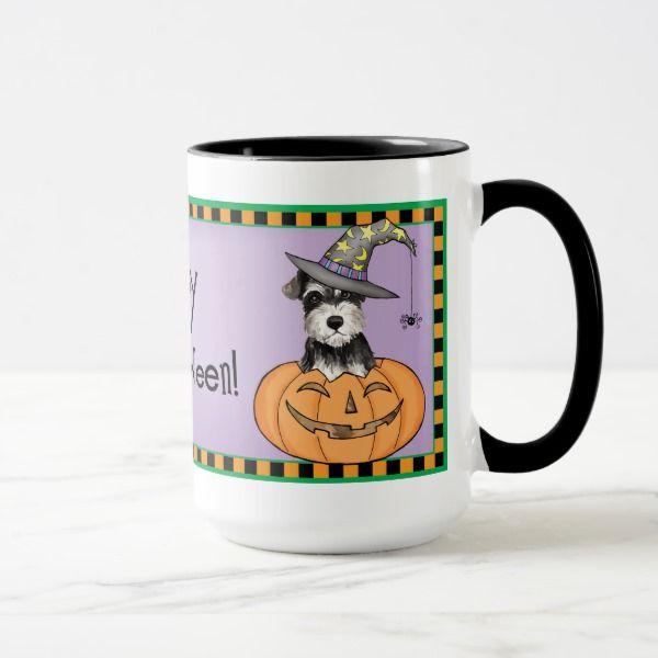 Halloween Miniature Schnauzer Mug #halloween #holiday #drinkware #party #cups