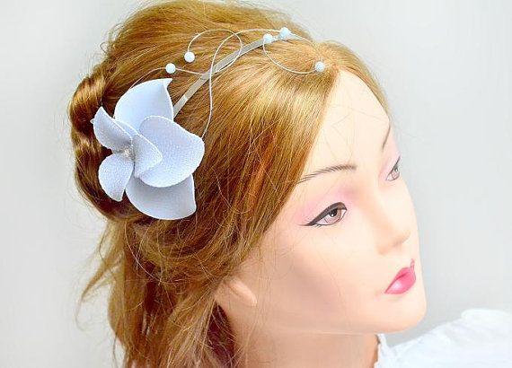 Silver fascinator headband Silver hairpiece Hair by MyArtDeco
