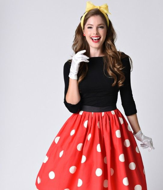 Preorder -  Unique Vintage 1950s Red & Ivory Polka Dot High Waist Circle Swing Skirt
