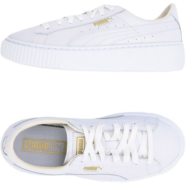 Puma Sneakers ($140) ❤ liked on Polyvore featuring shoes, sneakers, white, animal trainer, platform shoes, white flat shoes, white trainers and platform sneakers