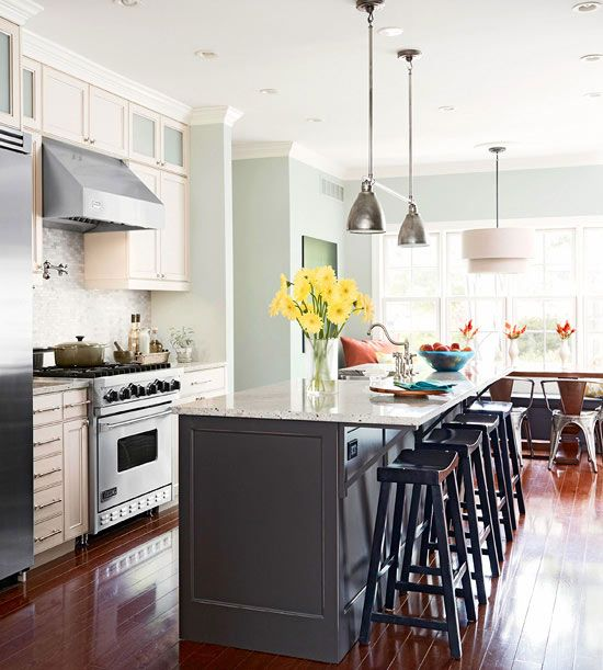 Dreamy space smart kitchens gray kitchens cabinets and for Small galley kitchen with island
