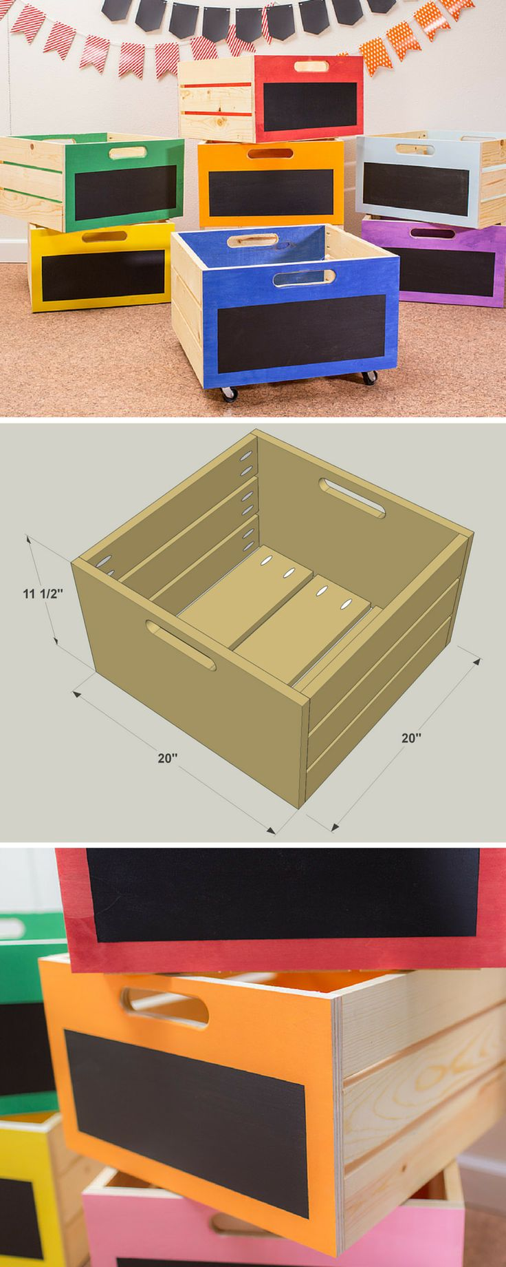 These storage crates are perfect for storing just about anything. They're sturdy and simple to build. Plus, you can customize them with chalkboard panels to mark what's inside, and even add a splash of color for a bit of style. You can even add casters if you want to create rolling storage. Get the free DIY plans at buildsomething.com