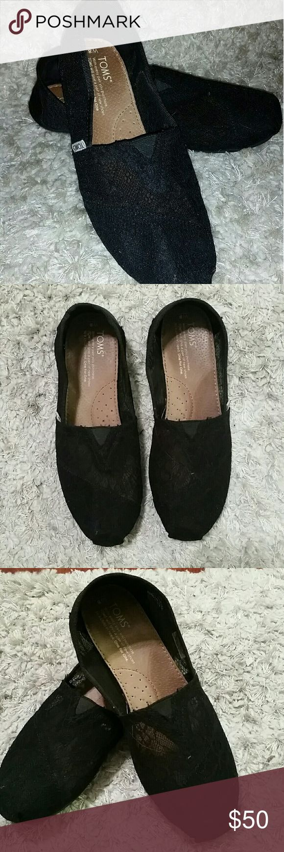 Black lace TOMS flats These lovely black lace TOMS will make you click your heels with joy - they're comfort and style all wrapped up in one. Worn once, in excellent condition. Toms Shoes Flats & Loafers