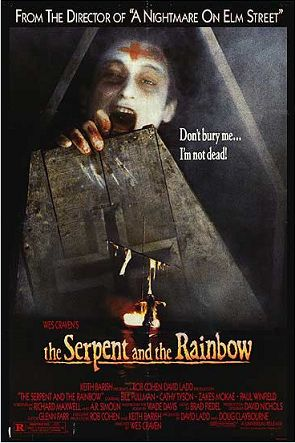 The Serpent and the Rainbowis a 1988horror filmdirected byWes Cravenand starringBill Pullman. The script by Richard Maxwell and Adam Rodman is loosely based on thenon-fiction book of the same namebyethnobotanistWade Davis, wherein Davis recounted his experiences inHaitiinvestigating the story ofClairvius Narcisse, who was allegedly poisoned, buried alive, and revived with a herbal brew which produced what was called azombie.
