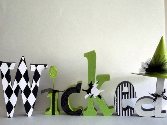 wicked block letters | WICKED Wood Letter Set Broadway Musical Glinda by posiesandpoppies