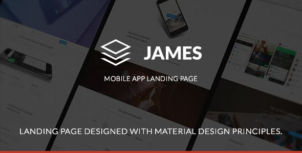 James - Material Design Mobile App Landing Page