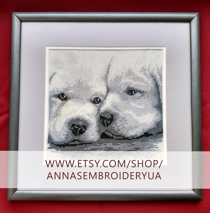 Puppies. Framed cross-stitch (completed) made by hands. Wooden frames, anti glare glass.