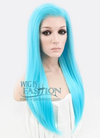 """Long Straight 24"""" Light Blue Lace Front Synthetic Fashion Wig"""