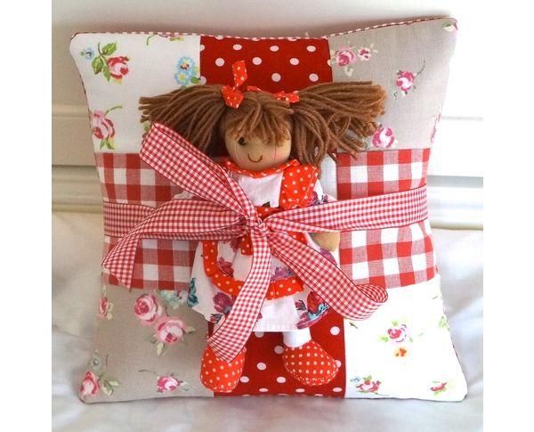 Red name cushion and rag doll gift set