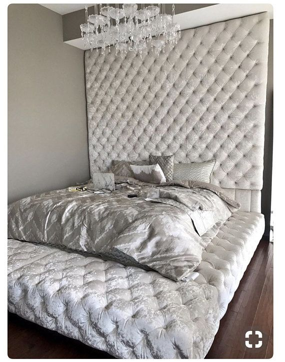 Diamond Tufted Oversized Bed Fabric Silver Grey Brussels Velvet Matching Ons Headboard 100 Extra Wide X 80 Tall Side Rails Top And