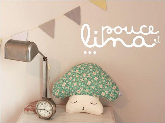 Coussin - champignon - deco chambre bebe - Pouce et lina - 1