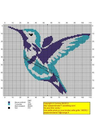 oiseau - bird - oiseau mouche - Point de croix - cross stitch - Blog : http://broderiemimie44.canalblog.com/