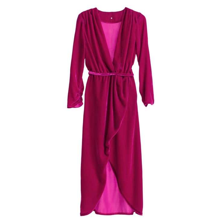 Asymmetric magenta silk velvet dress #Asymmetric #magenta #silk #velvet #SilkVELVET #dress