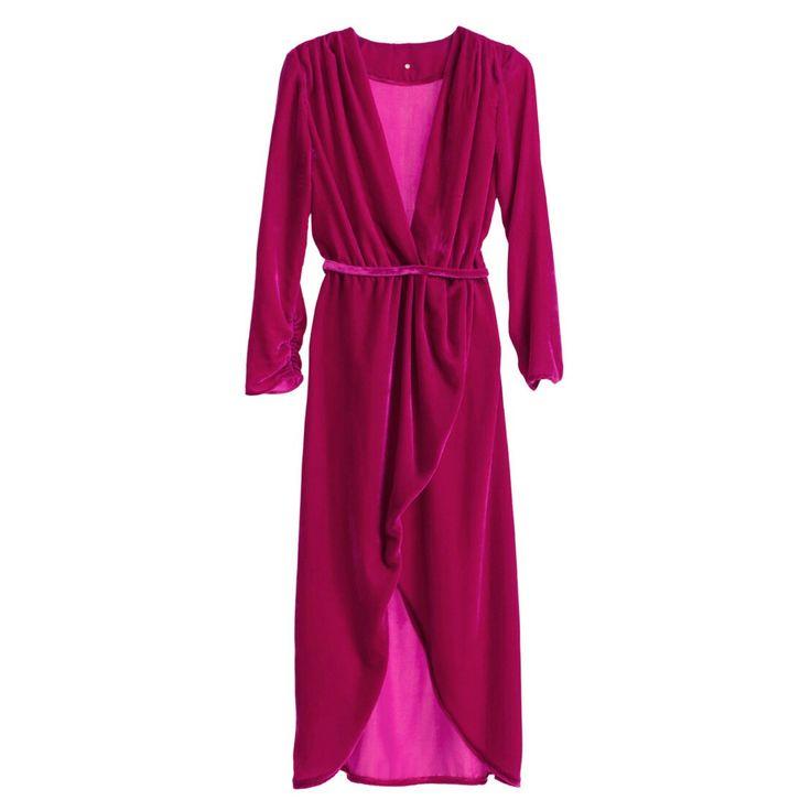 Asymmetric magenta silk velvet dress #Asymmetric #magenta #silk #velvet #SilkVELVET #dress