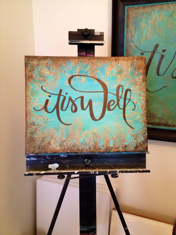 My friend Laura is the shop owner, her work is amazing! It Is Well Textured Canvas Painting on Etsy, $75.00