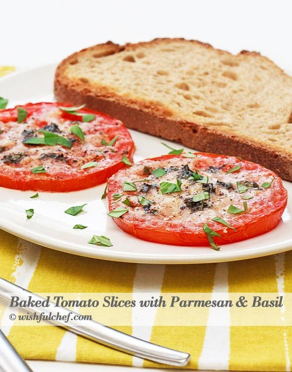 Baked Tomato Slices with Parmesan and Basil // wishfulchef.com