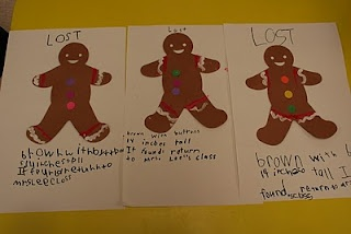 "Fun Christmas Writing!! Make a edible gingerbread cookie big enough for the whole class! Then the gingerbread ""runs away"" so students make Lost signs to try and find him!"