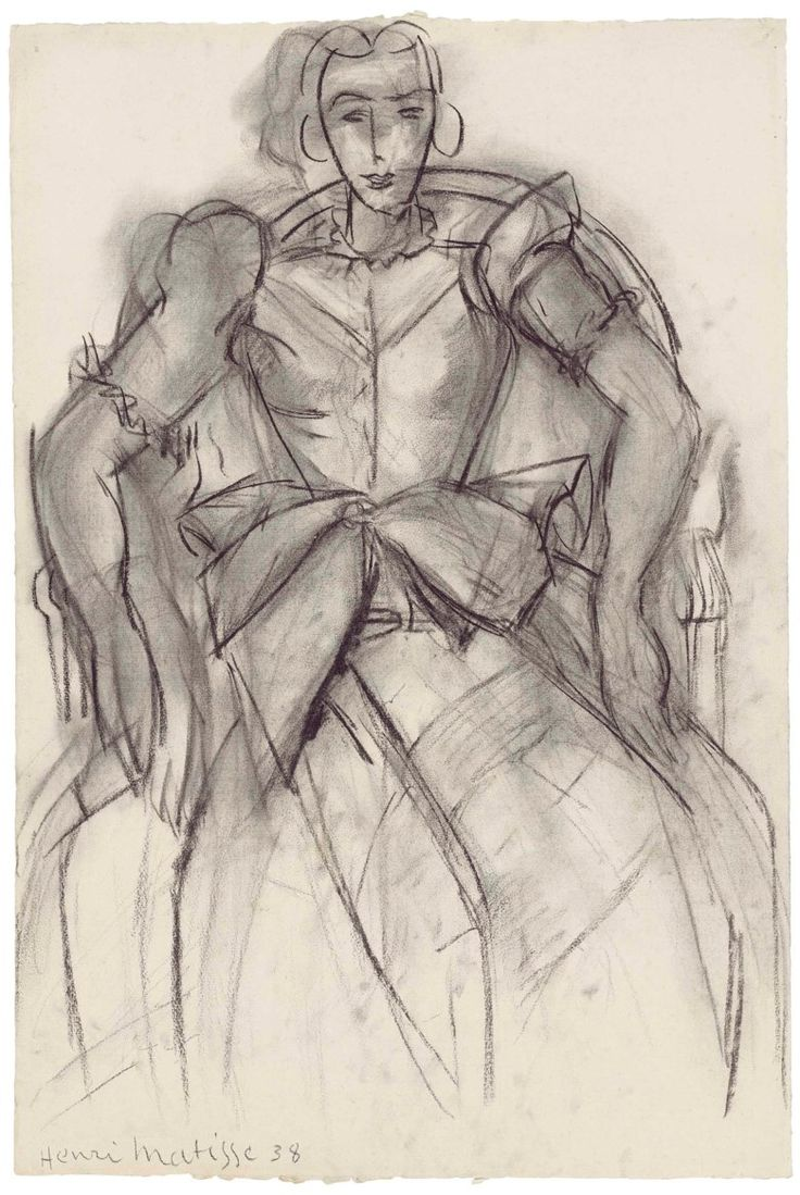 Henri Matisse (1869-1954), Femme assise à la robe de taffetas, 1938. 24 x 16  in (61 x 40.8  cm). Estimate £400,000-600,000. This lot is offered in theImpressionist and Modern Works on Papersale on 28 February 2018  at Christie's in London