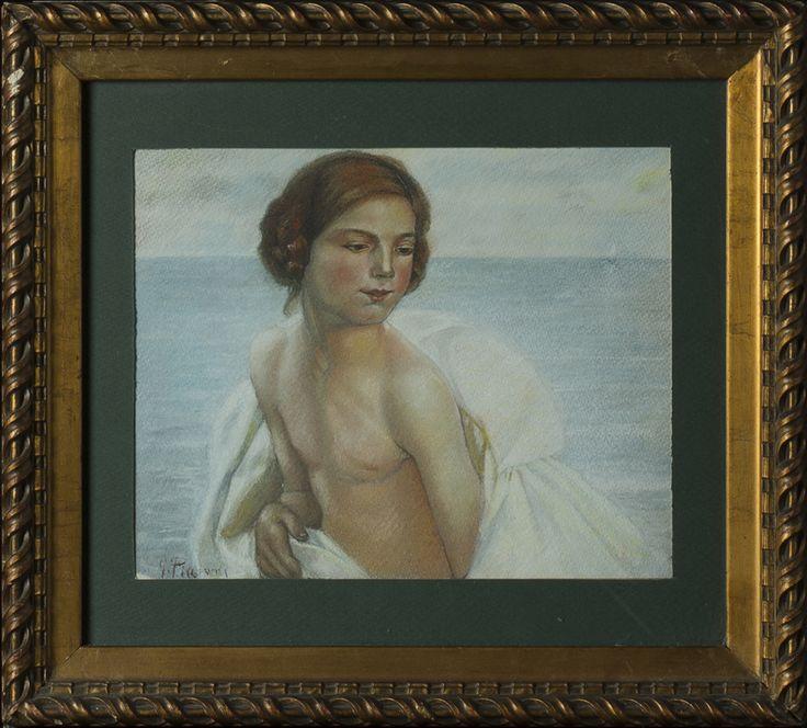 A Pastel by G. Piccioni Italy, 20th Century