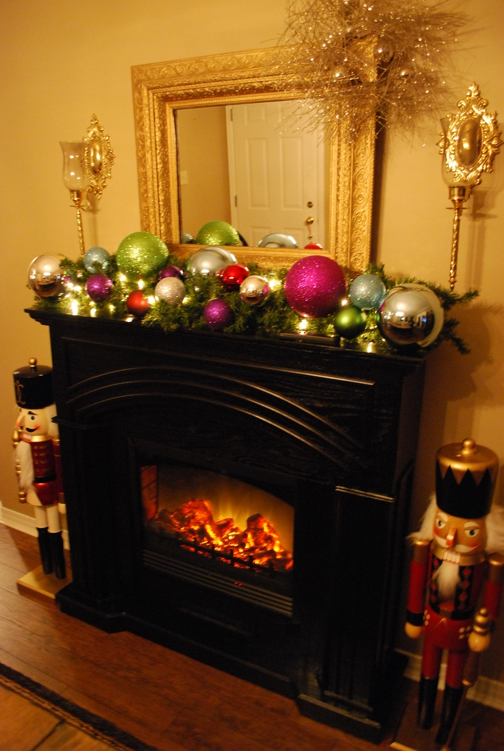Electric Fireplace Decked For The Season Christmas Pinterest