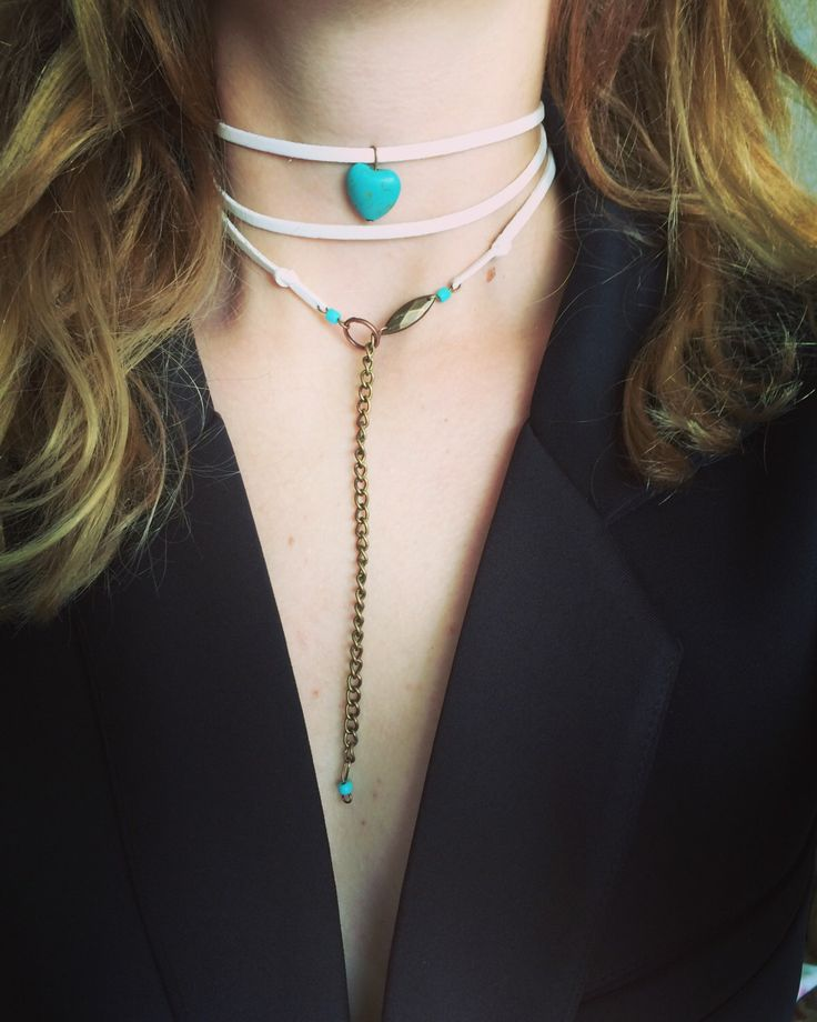 A personal favorite from my Etsy shop https://www.etsy.com/listing/387386086/white-turquoise-copper-choker-moho-boho