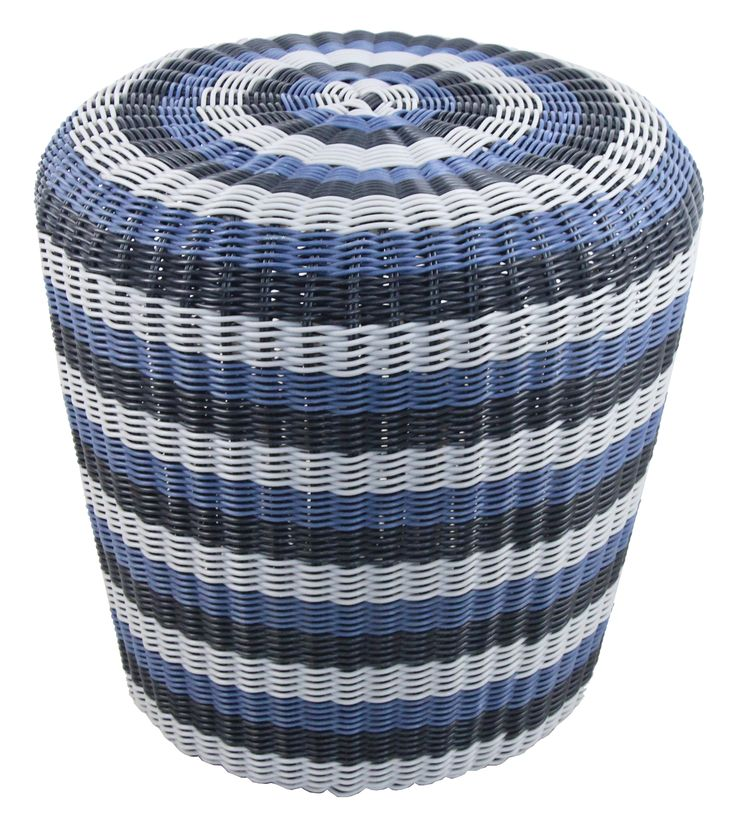 NEW IN: Handwoven, BLUE, rainbow striped rattan stools - waterproof! From $160RRP AUD.  http://www.philbee.com.au/decor/outdoor-indoor-waterproof-hand-woven-rattan-ottoman-1019.html