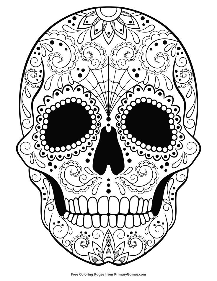 Sugar Skull Coloring Page Free Printable Ebook Skull Coloring