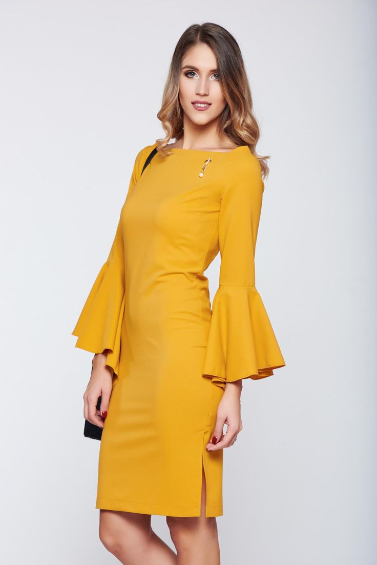 PrettyGirl yellow pencil elegant dress with bell sleeve, accessories may vary, metalic accessory, back zipper fastening, tented cut, bell sleeve, scuba, double knit from neoprene with vivid and colourful or 3D prints