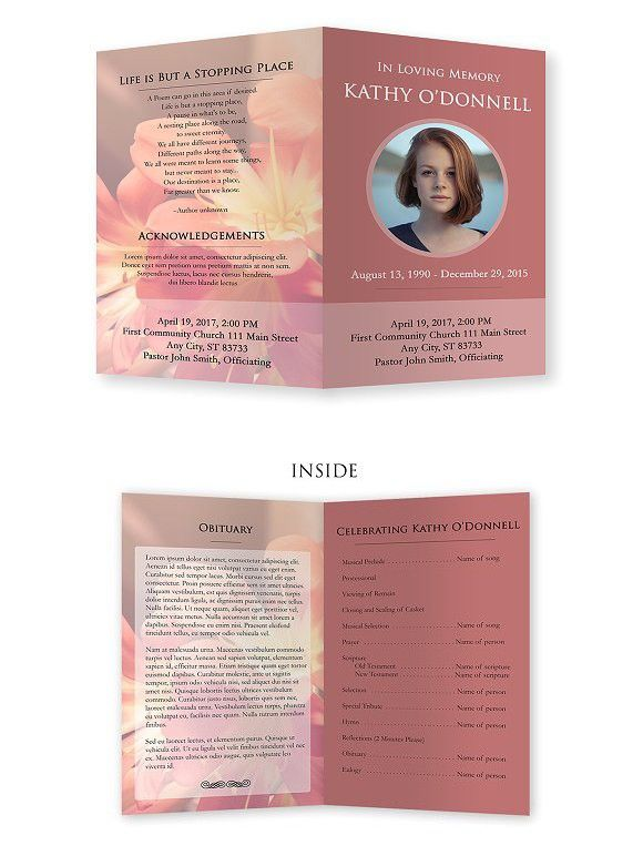 89 best funeral programs images on pinterest brochure for Program brochure templates