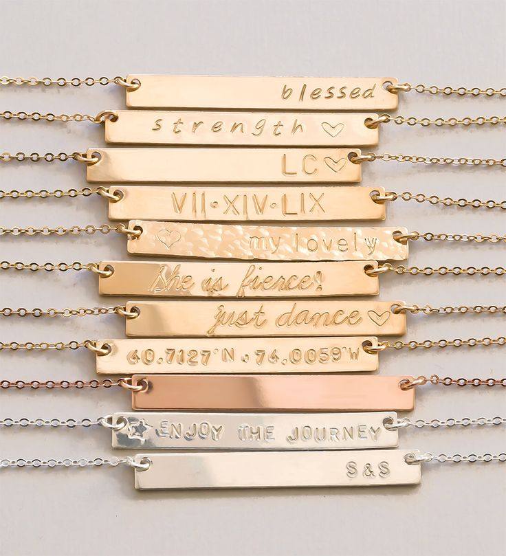 Personalized Bar Necklace, Gold Bar Necklace, Personalized Jewelry, Name Bar Necklace- Personalize this bar necklace with name, initial, dates, roman numerals, coordinates, symbols and much more!