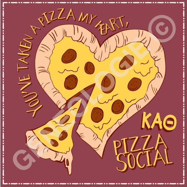 You've taken a pizza my heart. Geneologie | Greek Tee Shirts | Greek Tanks | Custom Apparel Design | Custom Greek Apparel | Sorority Tee Shirts | Sorority Tanks | Sorority Shirt Designs  | Sorority Shirt Ideas | Greek Life | Hand Drawn | Sorority | Sisterhood | Valentines Day | Food Function | Pizza Social | KAT | Kappa Alpha Theta
