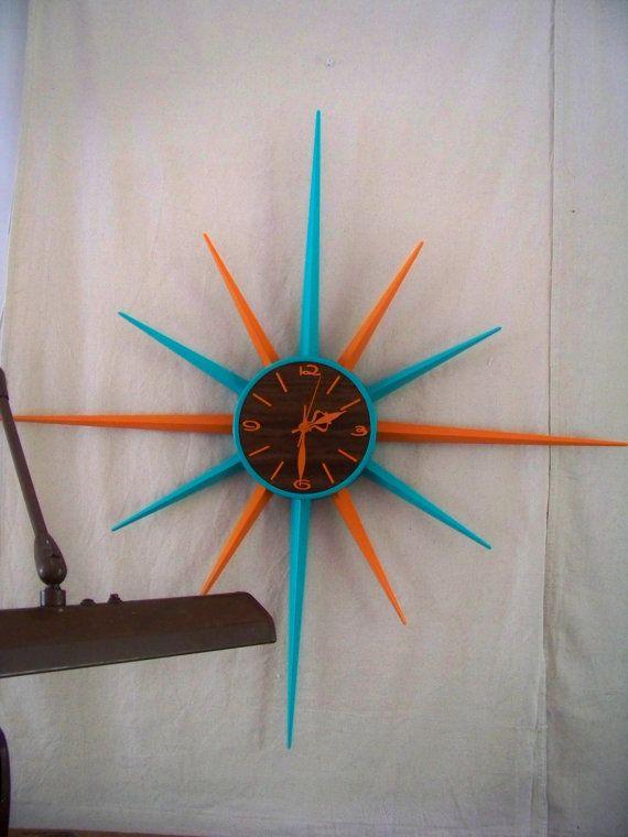 Updated Mid Century Sunburst - Clock Battery Operated SundriesandSalvage  via etsy