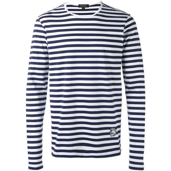 Burberry - striped long sleeve T-shirt - men - Cotton - S ($375) ❤ liked on Polyvore featuring men's fashion, men's clothing, men's shirts, men's t-shirts, white, mens striped t shirt, mens cotton t shirts, mens long sleeve cotton t shirts, mens white t shirts and mens t shirts