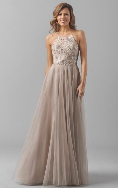 Curvy A Line Champagne Halter Backless Tulle Long Bridesmaid Dress