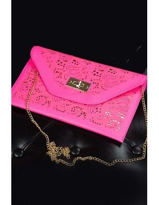 Laser Cut Clutch Bag in Hot Pink