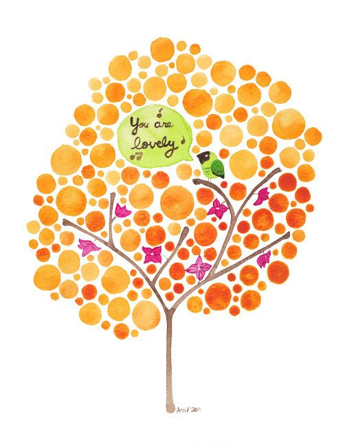 Watercolour Tree You Are Lovely Archival Art Print Inspirational Wall Art by jellybeans