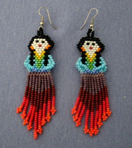 Huichol Indian Hand-beaded Earrings