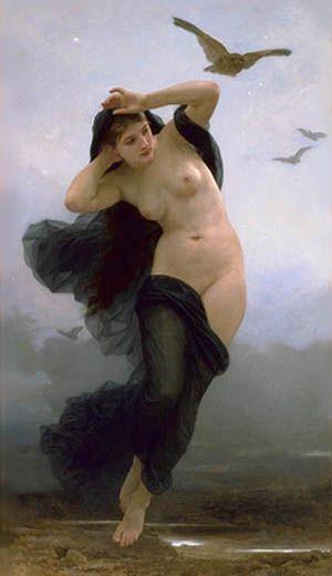 A deusa grega Nix é a personificação da noite. Nyx, deusa da noite (William-Adolphe Bouguereau - La Nuit (1883))