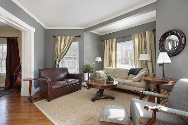 Living Room In Suburban Home With Gray Walls  - Gray Walls, Dining Room Decorating Ideas, Beige And Gray Room Decor | homahku.com